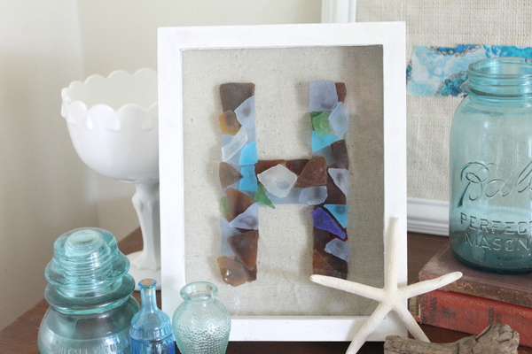 Sea Glass Monogram -- make this monogram art with your favorite sea glass pieces.  A fun way to display your treasures.