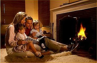 happy family fireplace