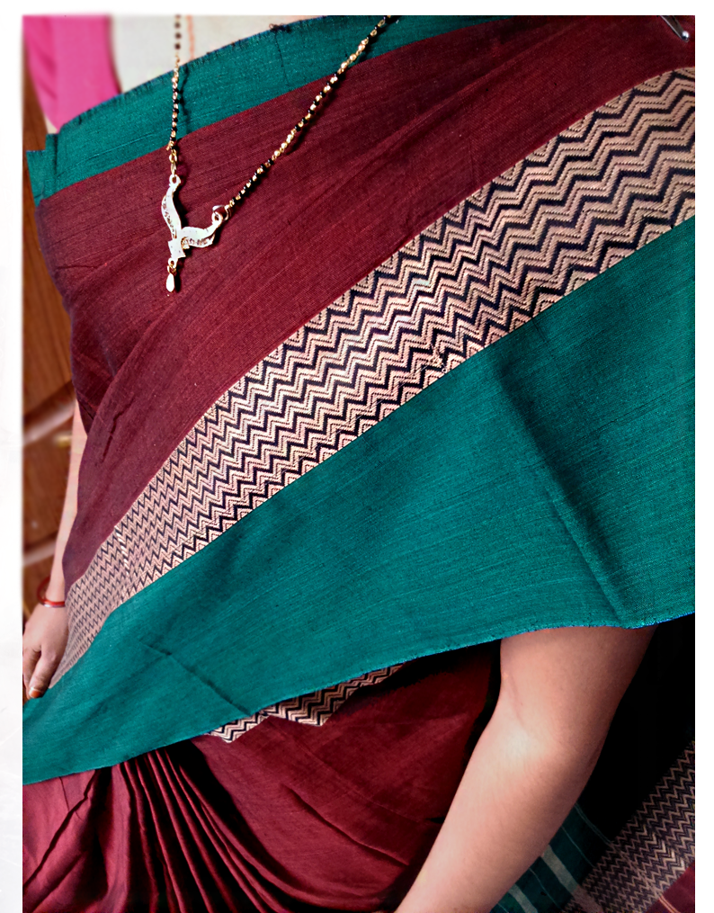 Narayanpet Maroon Color Cotton Saree