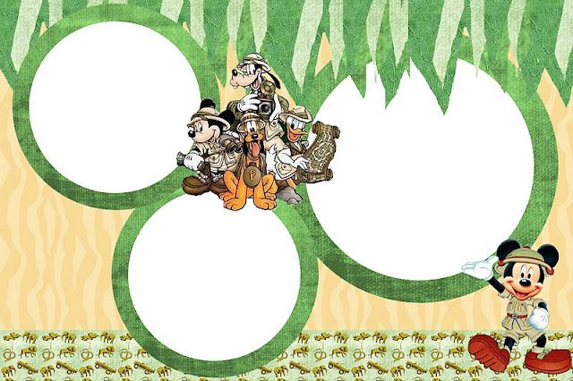 Mickey Safari   Kit Completo   Molduras Para Convites  R  Tulos Para