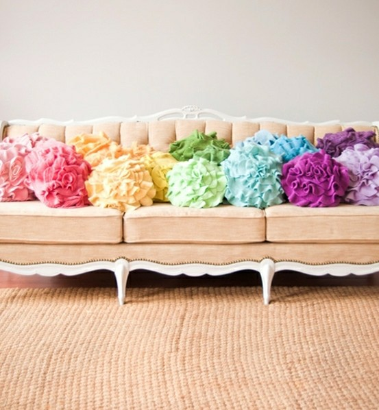 couch with colorful pillows