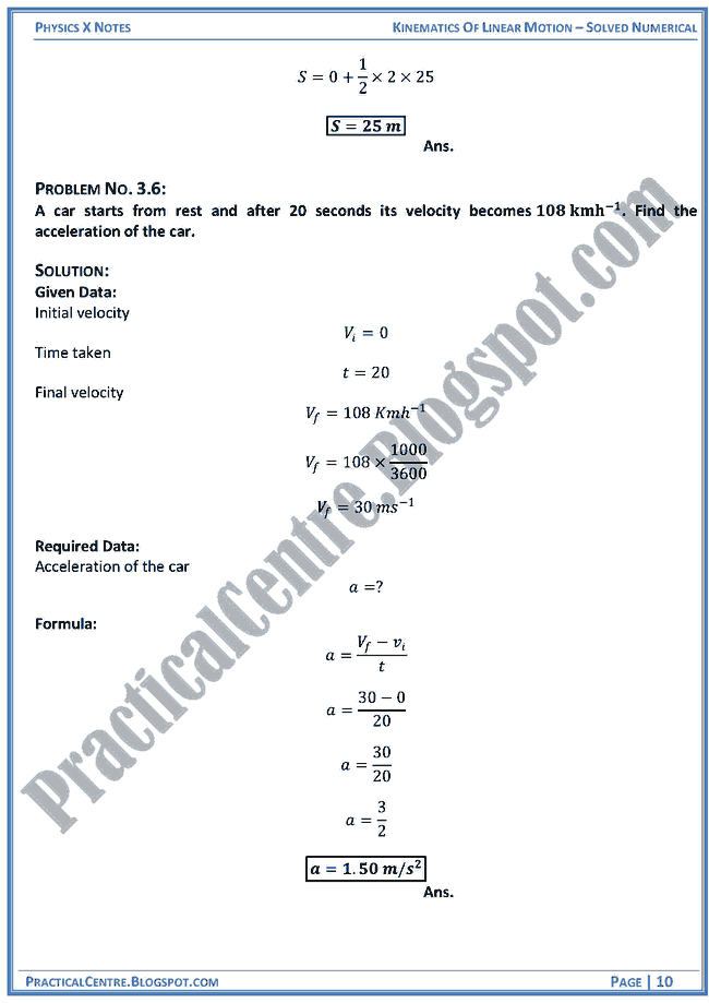 Kinematics Of Linear Motion - Solved Numerical -Examples & Problems - Physics X
