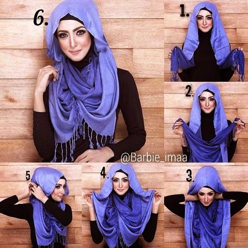 Cara Memakai Jilbab Pashmina Glitter Modern