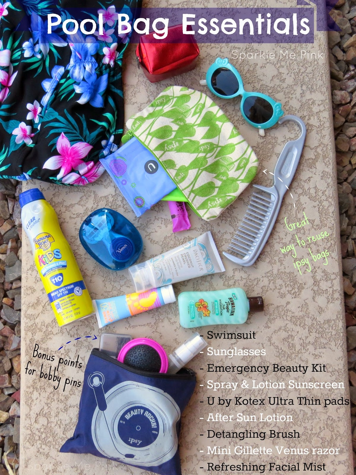Sparkle Me Pink: What's In My POOL Bag | Pool Bag Essentials