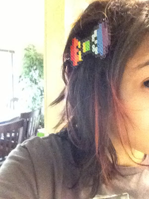 Kawaii Rainbow 8 bit Hair Bow Barrette 