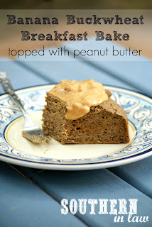 Healthy Banana Buckwheat Breakfast Cake with Peanut Butter Topping - Vegan, Low Fat
