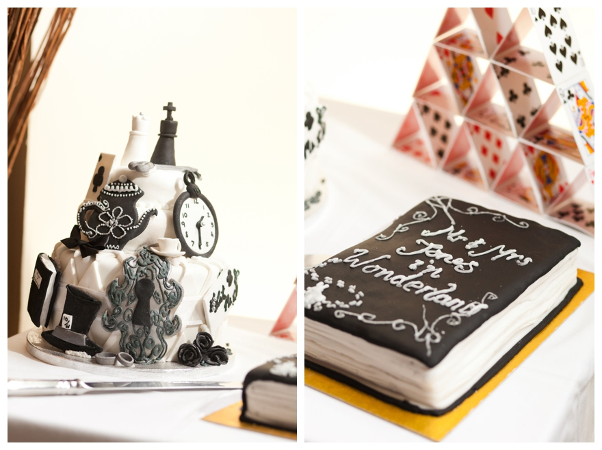 My Sister In Law Handmade Our Wedding Cake! It Was Three Layers, And  Covered In Black And White Alice In Wonderland Decorations, Like Clocks,  Teaspoons, ...