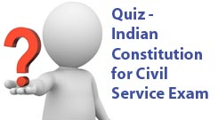 Indian Constitution Objective Previous years MCQ Bit Bank from Various Competitive Exams, Constitution of India & Indian Polity GK Quiz Multiple Choice Questions with answers asked in Many Civil Service Exams with Key, Quiz on General Knowledge, GK Test,  Questions & Answers for UPSC IAS, SSC Tier 1, , Bank PO Clerical, Railway RRB, APPSC, APSPSC & TPSC