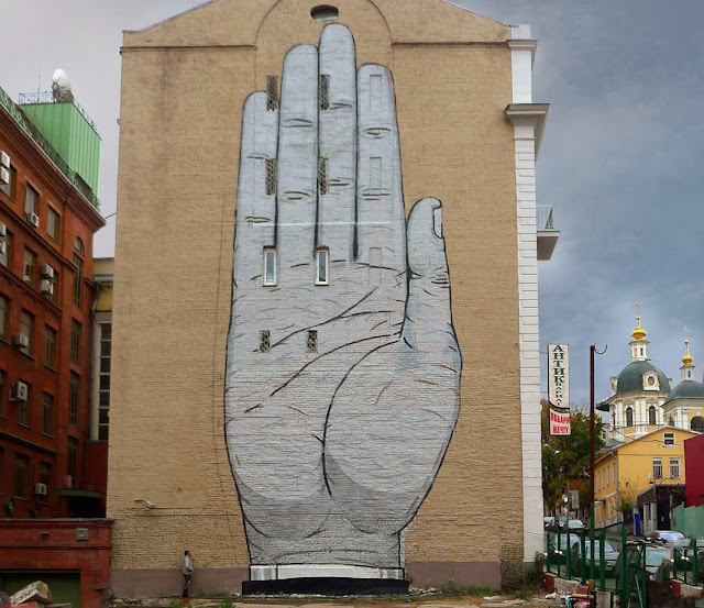 """Heil"" New Street Art Mural By Spanish Muralist Escif On The streets of Moscow, Russia. 1"