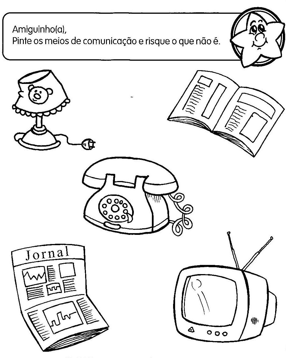 imagens para colorir meios de comunicação - Páginas para colorir Meios de Comunicação Educolorir