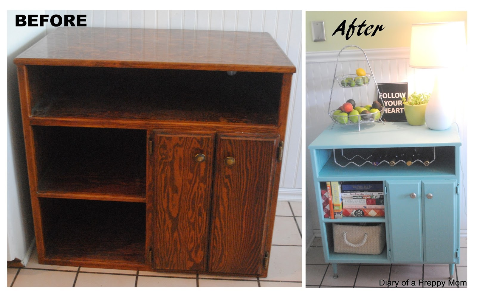 Preppy mom repurposed tv console turned buffet bar for Repurposed furniture before and after