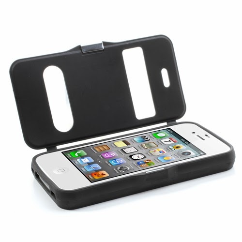 Cross Grain Texture Flip Cover TPU Case for iPhone 4 4S - Black