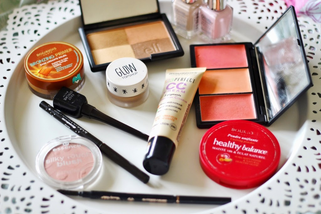 current makeup essentials/ spring essentials, bourjois bronzing primer, bourjois cc cream, elf warm bronzer, topshop glow gleam, collection fast stroke liquid liner