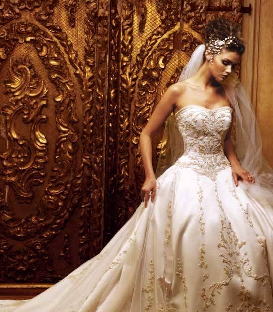 Ivory wedding dresses with color