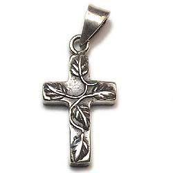 Leaf Designed Sterling Silver Cross Charms