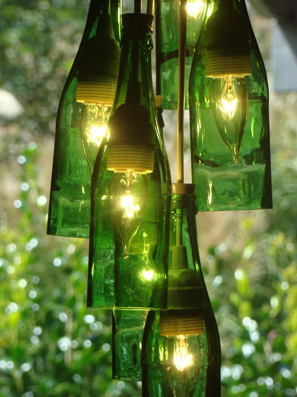 Junk with funk wine bottle chandeliers centerpieces wall vases window panels - Wine bottles chandelier ...