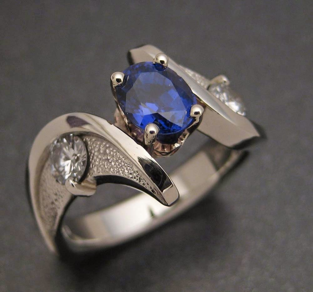 Blue Diamond Wedding Rings White Gold Los Angeles Model pictures hd
