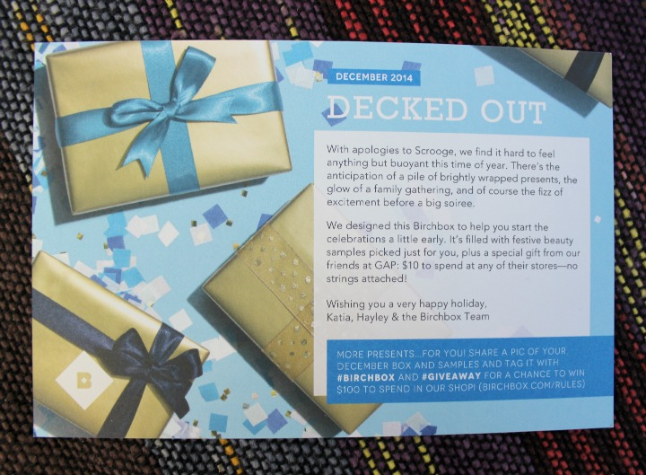 Birchbox December 2014 Review & Unboxing: Decked Out info card
