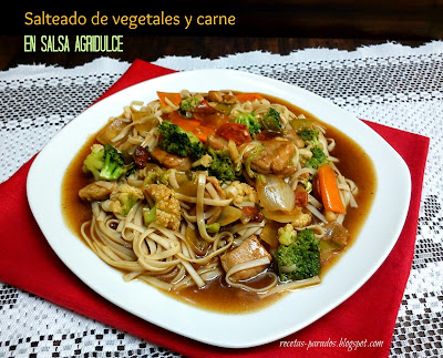 vegetales-carne-salsaagridulce