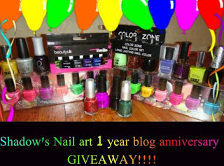 1 year Blog anniversary Giveaway!(end on 9th october)
