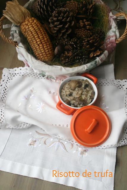 Risotto de setas, risotto de trufa, risotto,aceite de trufa