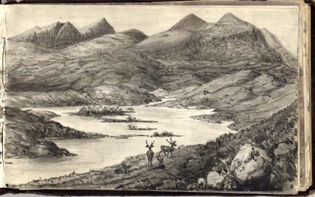 Landscape sketch by Ben Peach, Victorian geologist.