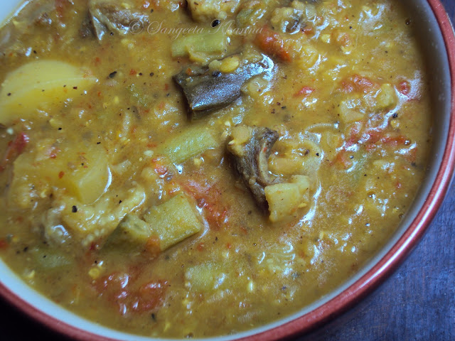 mutton dalcha .... goat meat and vegetables cooked with lentils..