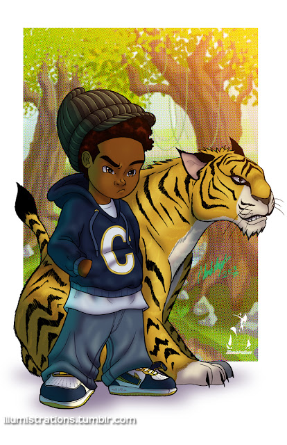 Calvin and hobbes black african american boy tiger comics
