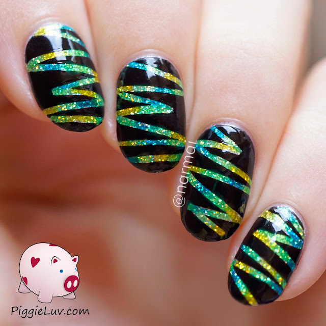 Striping Tape Nail Art Tutorial: PiggieLuv: Glitter Lightning Nail Art With OPI Color Paints