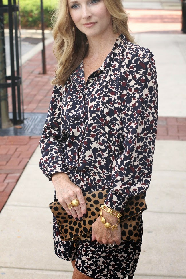 loft floral romper, clare vivier leopard clutch, jcrew tassel earrings