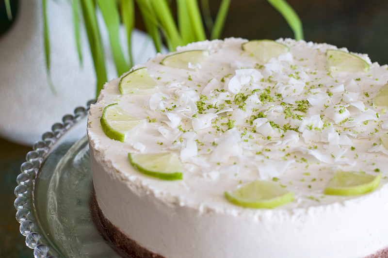 Raw lime cake close up front
