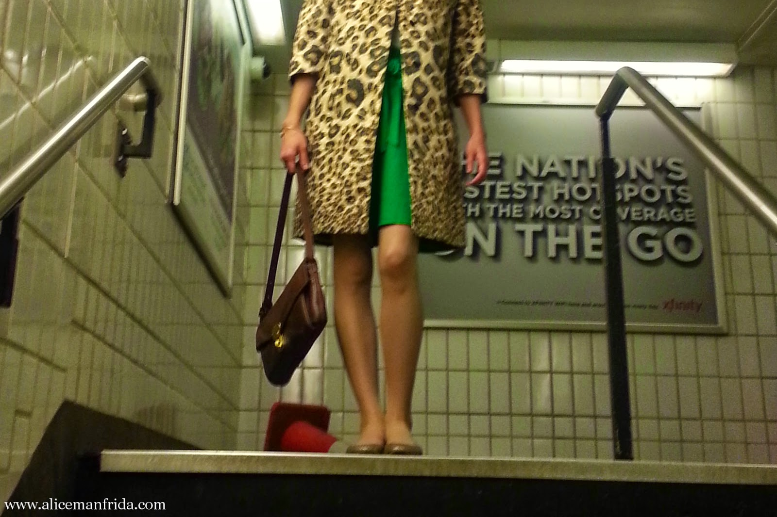 leopard statement coat, brown leather handbag, Fossil