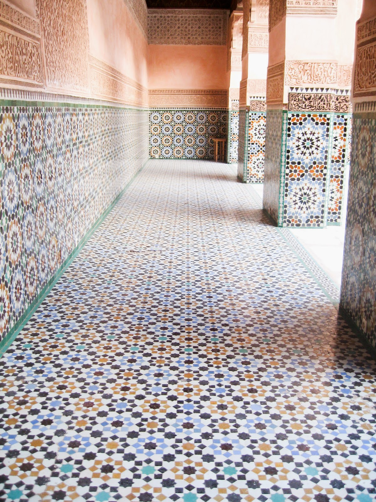 Marrakech top tourist attractions: Beautiful moorish architechture and tile work of Medersa Ben Youssef