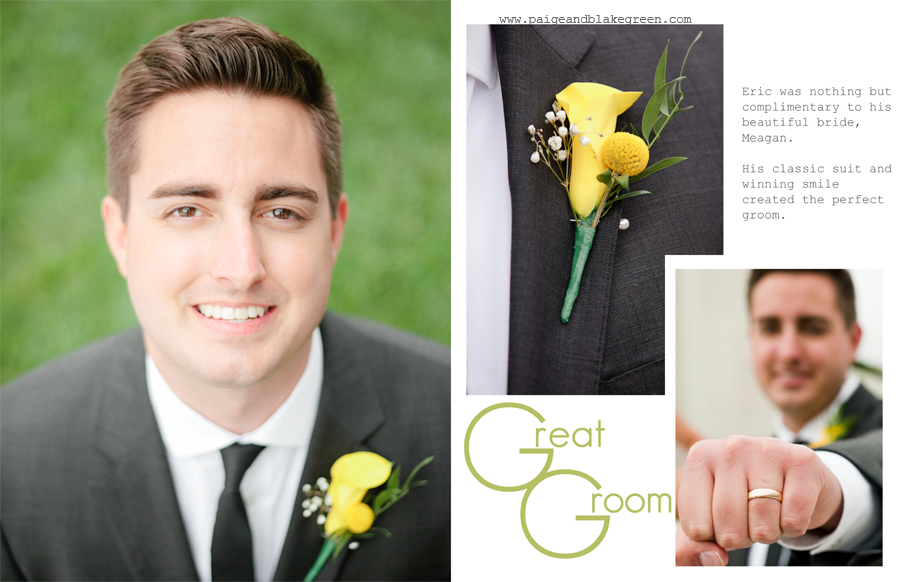 Yellow flower boutonniere. Groom by Paige and Blake Green Photography