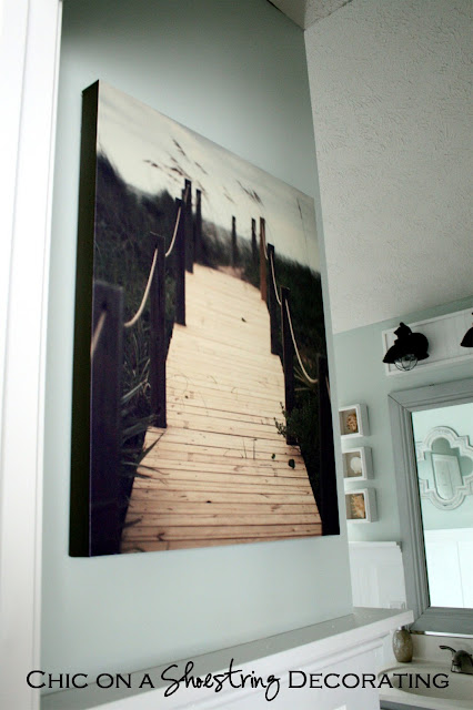 beach art canvas by Catherine McDonald at beach coastal bathroom