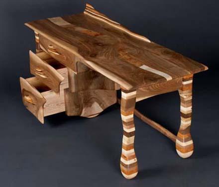 rainbow desk design of a wood desk - Wood Desk Design