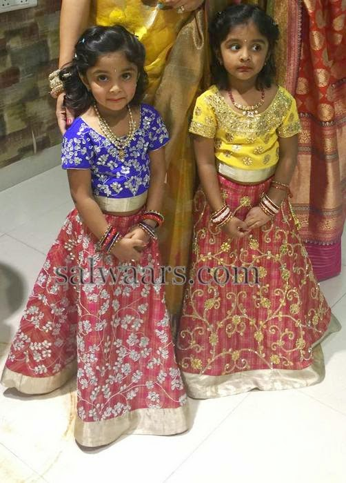 Manchu Vishnu Daughters in Designer Lehengas