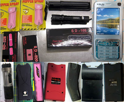 Left to Right - Top to Bottom - Stun Guns Discovered at: ATL, PDX, BIL, LAS, ABQ, DTW, SNA, DEN, EKO