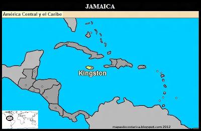 Mapa de Jamaica en Centroamérica