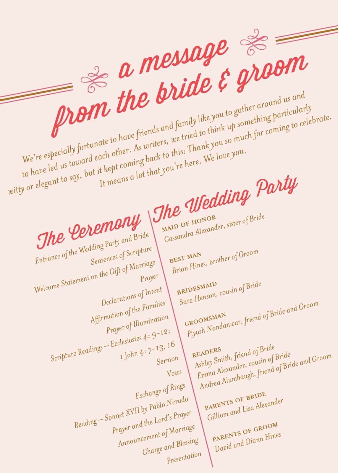 What To Include On Your Wedding Program