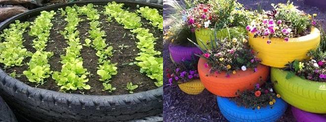 horta e jardim em pneus : horta e jardim em pneus:Decoração para jardim com reciclagem