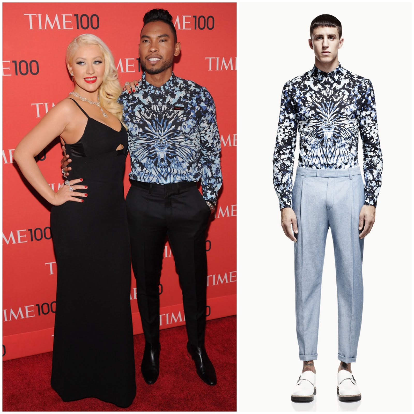 00O00 Menswear Blog Miguel in McQ Alexander McQueen (@WorldMcQueen) shirt and Saint Laurent cuban heels - 2013 Time 100 Gala