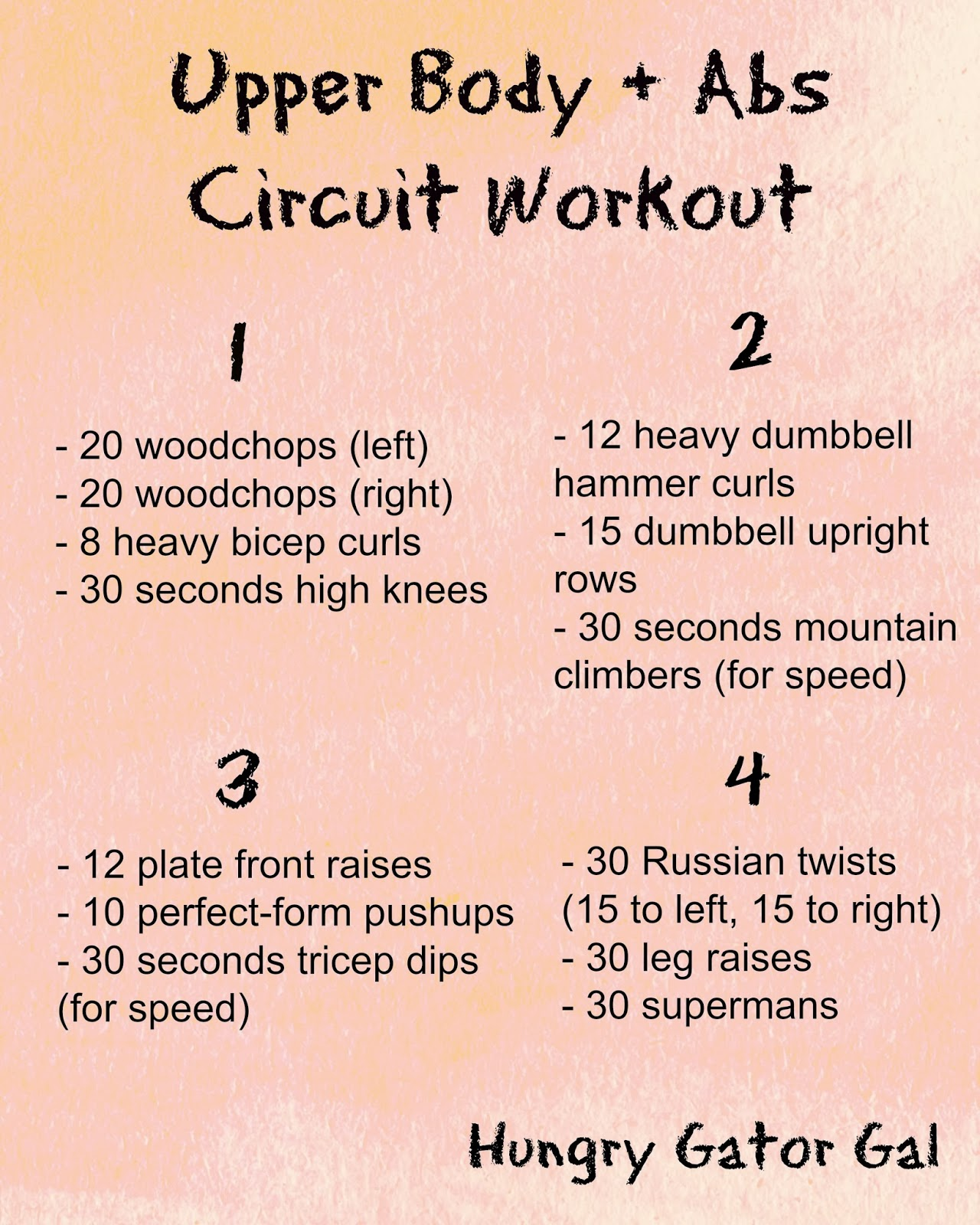 Upper Body + Abs Circuit Workout from hungrygatorgal.com
