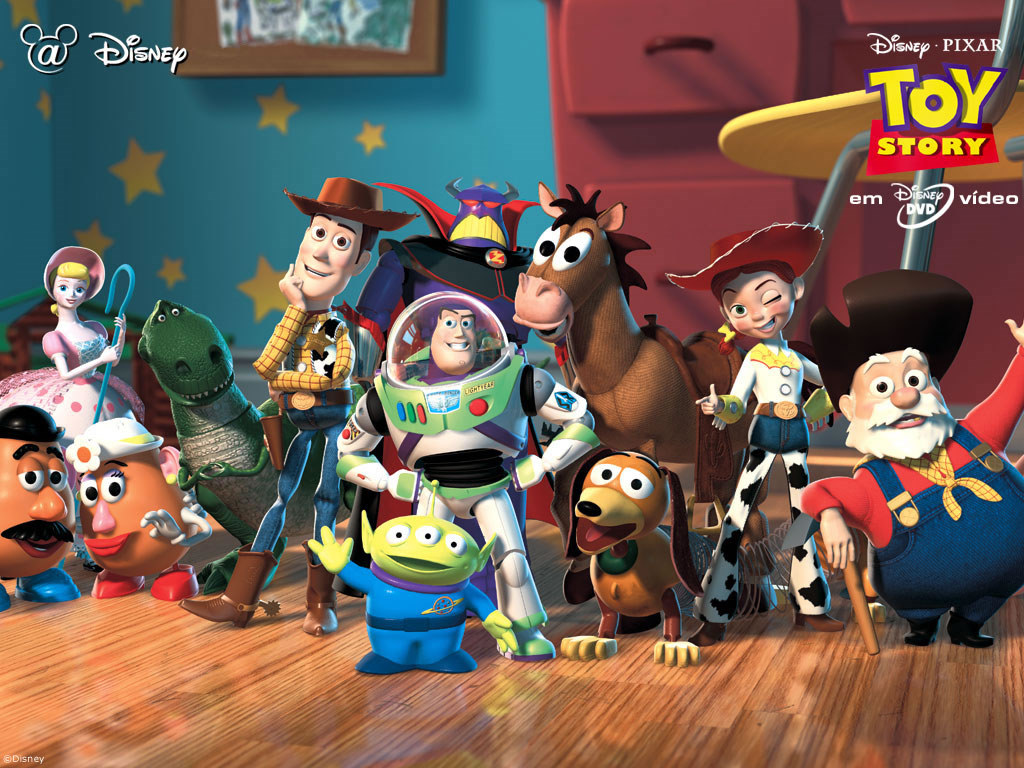 group shot of toys in Toy Story Toy Story 1995 animatedfilmreviews.blogspot.com