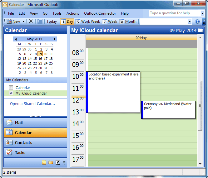 outlook main window in calendar view