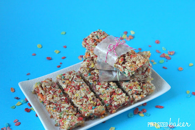 Post Fruity Pebbles Granola Bars packed full of healthy nuts and sweet cereal.  #PebblesBTS