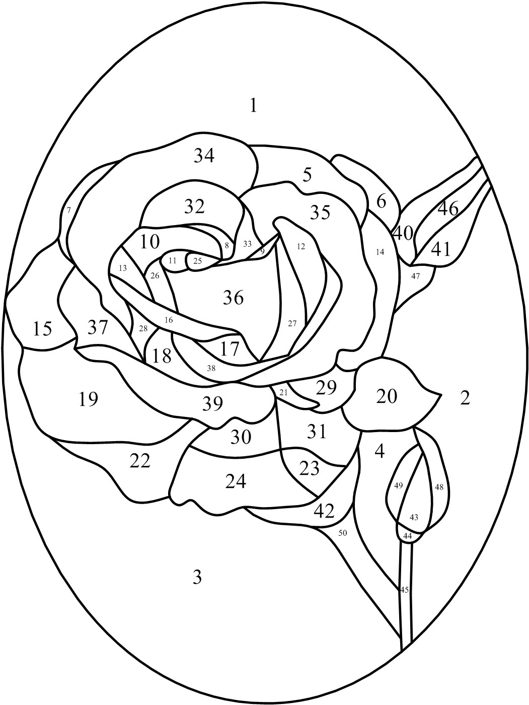 Rose Heart Stained Glass Pattern and Rose Heart Applique Pattern