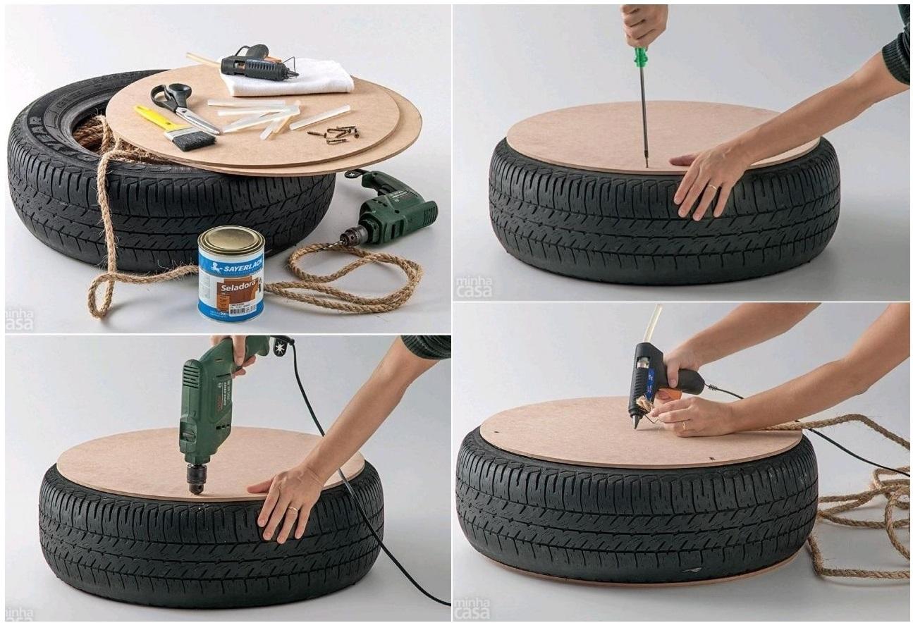 Reciclar preciso puff ou mesa de centro com pneu - Mesa de centro con puff ...