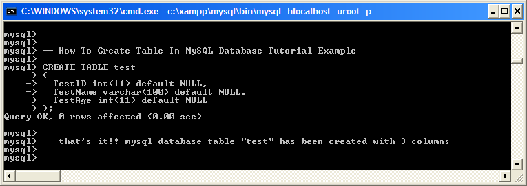 examples: Create Table In MySQL Database Tutorial Example
