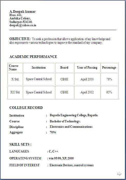resume format for freshers 12th pass